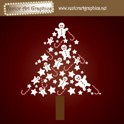 Christmas Tree Vector Image - Abstract design with candy canes, stars, and gingerbread man graphics.