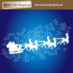 Christmas Vector Art - Santa, reindeer, and sleigh outdoors.
