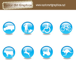 Blue Vector Website Icons