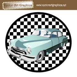 Classic Car Vector Graphic with Checkered Background