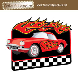 Flames Red Car Graphic