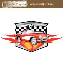 Mustang Racing Car Graphic with Fire and Flames