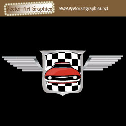 Racing Emblem Vector Graphic with Red Car