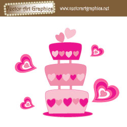 Wedding Cake Vector Art With Hearts
