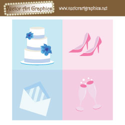 Wedding Clip Art - Wedding Cake, Wedding Shoes, Wedding Invitations, Champagne Glasses