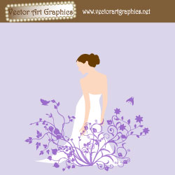 Wedding flowers with a bride in a wedding dress vector art.