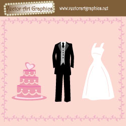 Wedding Vector Graphics - Wedding Dress, Wedding Cake, and a Tuxedo